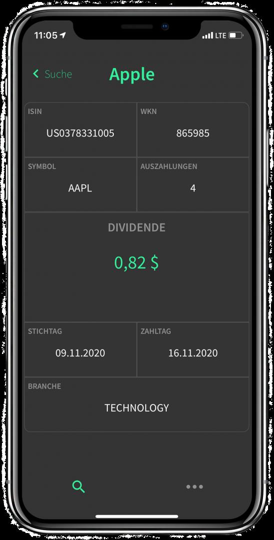 Dividendenkalender Screenshot App